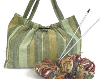 Green Upholstery Shoulder Bag Knitting Project Tote Fully Lined Plaid Fabric Inside Pocket Project Bag Travel Bag Shoulder Straps