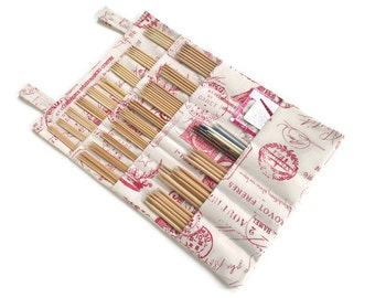 Double Point Needle Hanging Organizer Multi Pockets Toile Red French Postcard Fabric DPN Hanging Case Hanging Needle Storage