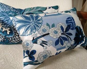 Schumacher CHIANG MAI DRAGON  China Blue Pillow Cover