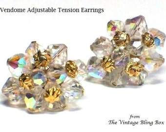 Vendome AB Crystal Bead Earrings with Adjustable Patented Tension Setting marked Pat. 2809501 - Vintage 1950's Designer Costume Jewelry