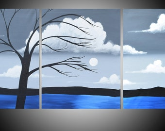 """abstract canvas office art triptych large wall art contemporary large painting oil landscape acrylic tree of life original 24 x 54"""" 72 x 36"""""""