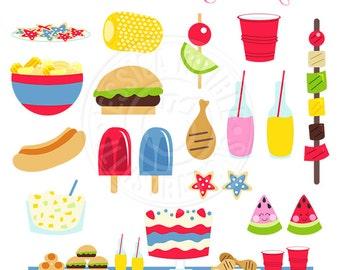 Summer Food Cute Digital Clipart, Summer Graphics, Summer Party Clip Art, Watermelon, Kabob, Hamburger, Outdoor Cookout, Food Clip art