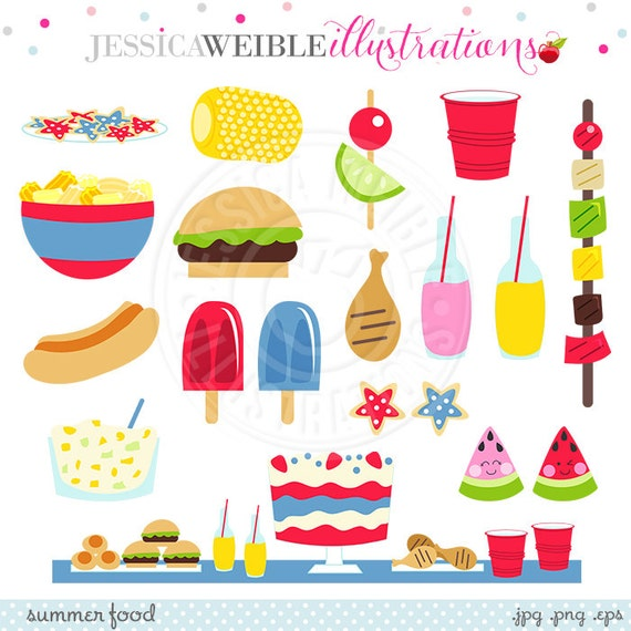 Summer Food Cute Digital Clipart, Summer Graphics, Summer ...