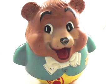 Roly Poly Bear, Vintage Fisher-Price Plastic Musical Jingle Toy (L2)