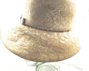 Champagne Brocade Hat, Bucket Style,  Vintage Ladies Hat, Mr. John Sophisticate