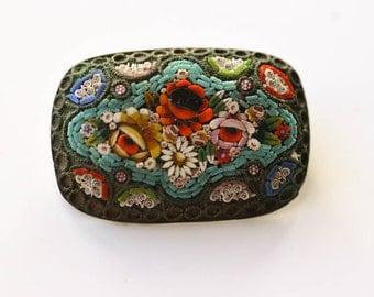 Italian Mosaic Brooch Vintage Micro Mosaic Brooch Floral Mosaic