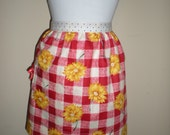 Vintage half apron cottage chic red white yellow floral check print Great hens night kitchen tea bridal shower Ready to ship