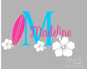 Surf Wall Decal- Surfboard Hibiscus Flower Initial with Name- Girl Room Decor-Personalized-Custom Name Monogram Preppy Hawaiian Vinyl Decal