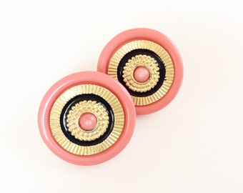 Salmon Pink earrings round buttons pink and black pierced earrings elegant vintage
