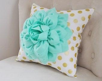 Gold Polka Dot Pillow with Mint Green Dahlia Flower, Decorative Pillow, Metallic Gold Pillow, Nursery Decor Pillow