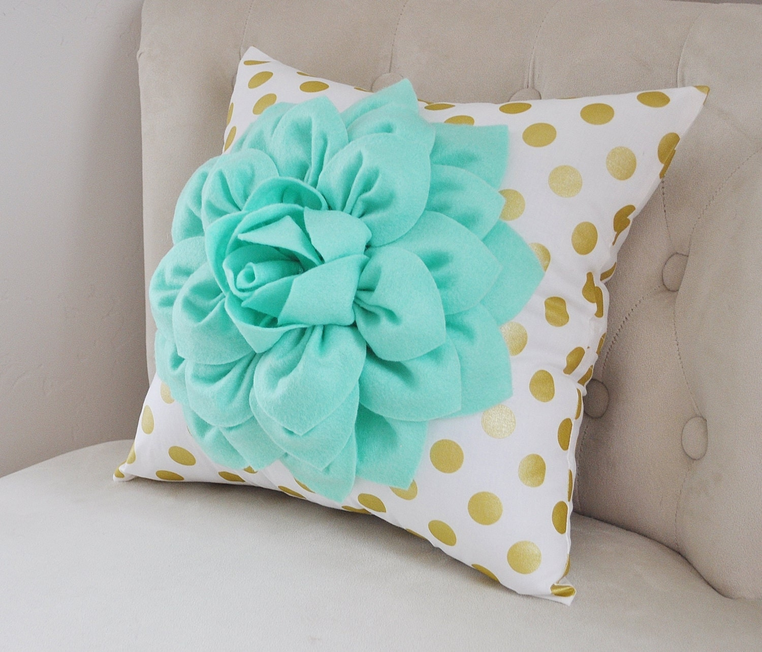 Gold Polka Dot Pillow With Mint Green Dahlia Flower