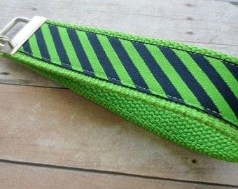 Ribbon Keychain Fob -- Green and Navy Stripe