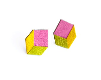 Geometric Neon Post Stud Earrings, Cube Earrings, Pink Yellow and Green Earrings, Minimalist Modern Jewelry