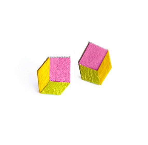 Geometric Neon Post Stud Earrings, Cube Earrings, Pink Yellow and Green Earrings, Minimalist Modern Jewelry
