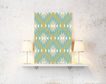 Lime Turquoise White Teal Ikat Damask Digital Wall Art Pictures Modern Inspired Digital Art Print -Custom colors available