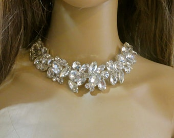 Rhinestone Bib Necklace, Vintage Inspired Necklace, Rhinestone Choker Necklace, Rhinestone Statement Necklace, Bridal  Wedding  Necklace