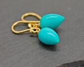 Turquoise Earrings Tear Drop Earrings Acorn Blue Earrings Gemstone Drops Fine Jewelry Dangle Earrings Gift For Her Genuine Turquoise Jewelry