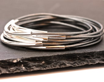 Gray Leather Bangles , Bangle Bracelets , Silver Bangles , Bangle Set ,  Stacking Bangles , Glacier Gray , Best Seller ,  Amy Fine Design