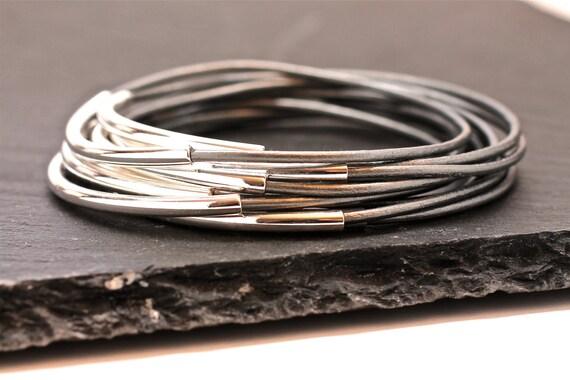 Gray Leather Bangles , Bangle Bracelets , Silver Bangles , Bangle Set ,  Stacking Bangles , Glacier Gray , Best Seller ,  Amy Fine Design