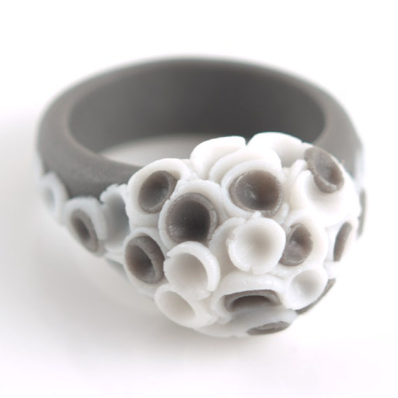 Gifts For 18th Wedding Anniversary: Statement Flower Ring Gray White Ceramic Porcelain By