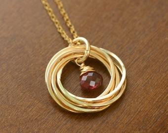 50th birthday gift, gold garnet necklace, 5 best friend necklace, gold birthstone necklace, gift for mother - Lilia