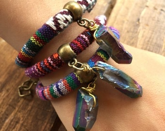 Titanium Quartz Bracelet/ Rope Bracelet/ Natural Gem Stone/ Colorful Bracelet/ Charm Bracelet/ Boho Summer Jewelry/ Quartz Crystal Bracelet