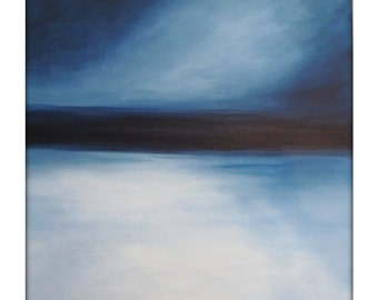 Large Abstract Painting on Canvas Modern Acrylic Skyline- 36x36- Grays, Blues, Whites and more