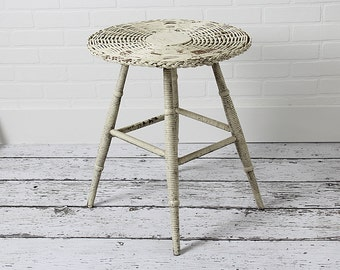 Vintage Wicker Side Table in Old Chippy White Paint