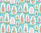 Christmas Trees in Snowglobes - Vintage Noel from Blend Fabrics - Full or Half Yard Snowglobe Forest Blue