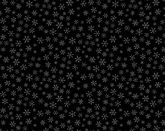 The Cardinal Rule from Wilmington Prints - Full or Half yard Snowflakes on Black