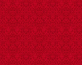 The Cardinal Rule from Wilmington Prints - Full or Half Yard Christmas Red Heart Damask