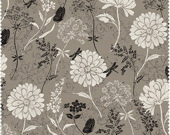 Jardin de Provence from Windham Fabrics - Full or Half Yard Linen Textured Taupe, Black, Creamy White Floral