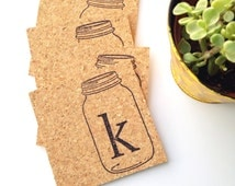 Mason Jar Monogram Coasters - Set of 6 Country Living Cork Hand Stamped Home Decor Trendy Kitchen Rustic Shabby Chic Entertaining