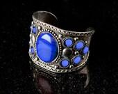 Lapis Blue Cuff bracelet,Unisex,Mens bracelet,Womens bracelet,Silver antique cuff,Afghan Jewelry,Kucchi, Blue bracelet by Taneesi
