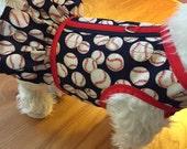 Baseball Ruffle Small Dog Harness, dog harnesses, pet clothing, Made  in USA
