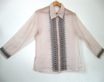 Champagne Pink Blouse Sheer Silk Organzanza Black Embroidered Cut Out Design Mediterranean Morrocan Style