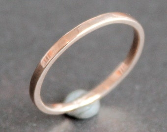 14K Solid Rose Gold Ring - 1.5mm Rectangle Band - Simple Wedding Ring - Smooth, Matte or Hammered