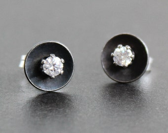 Earrings Antiqued Sterling Silver Discs With Mm Cz Diamonds Post Stud