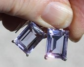 RESERVED FOR SUNBEAMSUNNY Spring Lilac - Faceted Emerald Cut Blue Topaz Sterling Silver Earrings