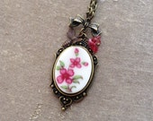 Flower and Bee Broken Vintage Tea Cup Necklace