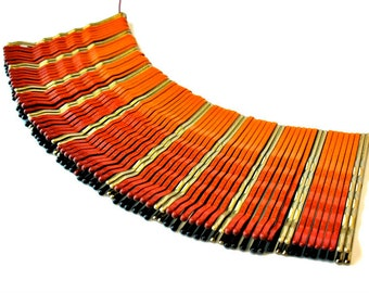 Ombre Sunset Orange Statement Necklace, Bib, Upcycled, Repurposed Jewelry