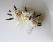 Lavender and Lace Flower Comb