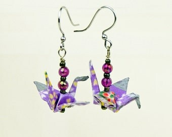Peace Crane Earrings Hand-Made in Lavender Flowers Design, Origami, Eco-friendly