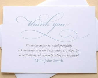 English or Spanish Condolence Thank You Cards With Purple