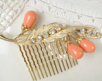 Coral Salmon Peach & Rhinestone Gold Bridal Hair Comb, Vintage Orange Leaf Hairpiece, Rustic Chic Autumn Small Floral Spray Country Wedding