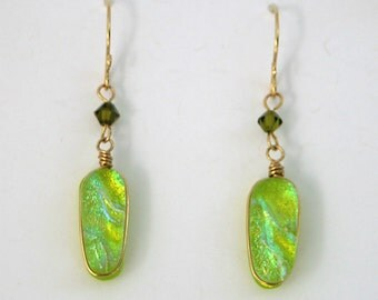 Spring Green Dichroic Glass and Olive Crystal Dangle Gold Fill Earrings - Cyberlily