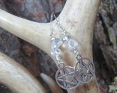 Pentacle Earrings, Clear Quartz, Wiccan Jewelry, Pagan Jewelry, Antique Silver, Witch Earrings, Five Pointed Star