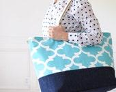 EXTRA Large Beach Bag // Quatrefoil Ocean Blue, Monogram Available