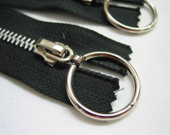 2 pcs, 7' inch Black Silver Ring Metal Zippers