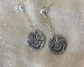 Pure Silver Art Deco Earrings